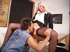 Blonde German Pantyhose Secretary Stockings