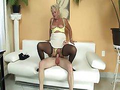 Stockings, Granny, Dildo, Big Tits